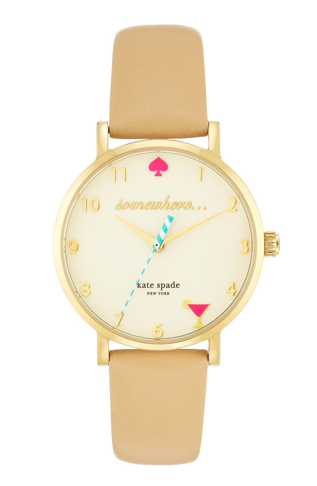 Main Image - kate spade new york 'metro - somewhere' leather strap watch, 35mm