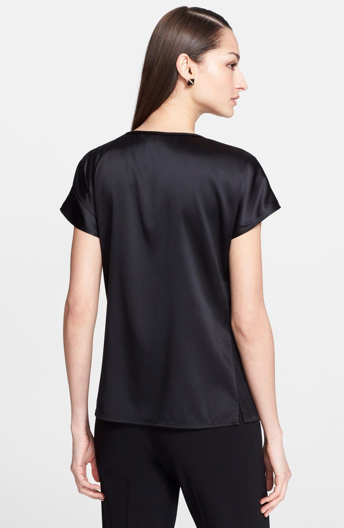Alternate Image 2  - St. John Collection Silk Charmeuse Cap Sleeve Blouse