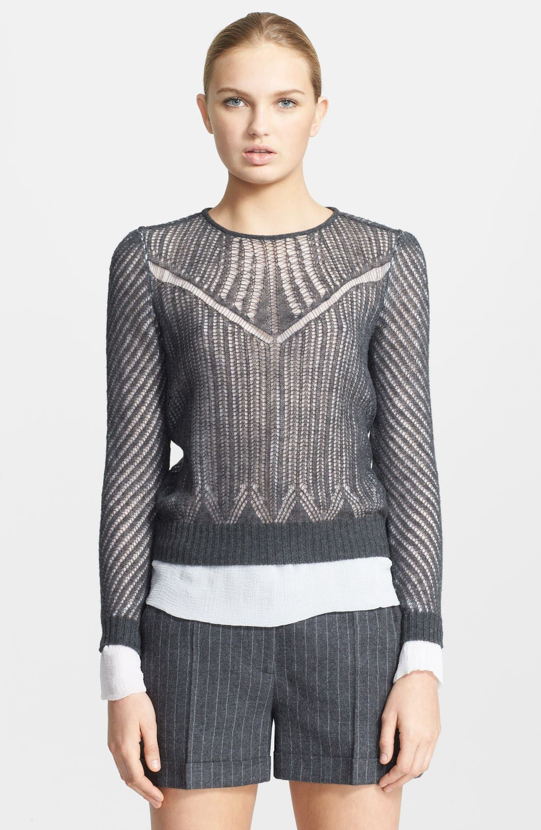Alternate Image 1 Selected - Alexander McQueen Layered Silk & Wool Sweater