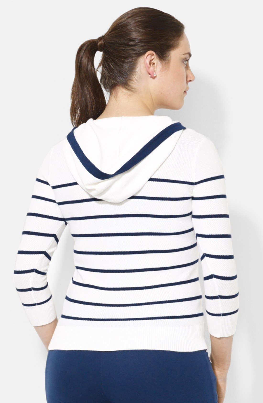 Alternate Image 2  - Lauren Ralph Lauren Stripe Lace-Up Cotton Hoodie (Plus Size)