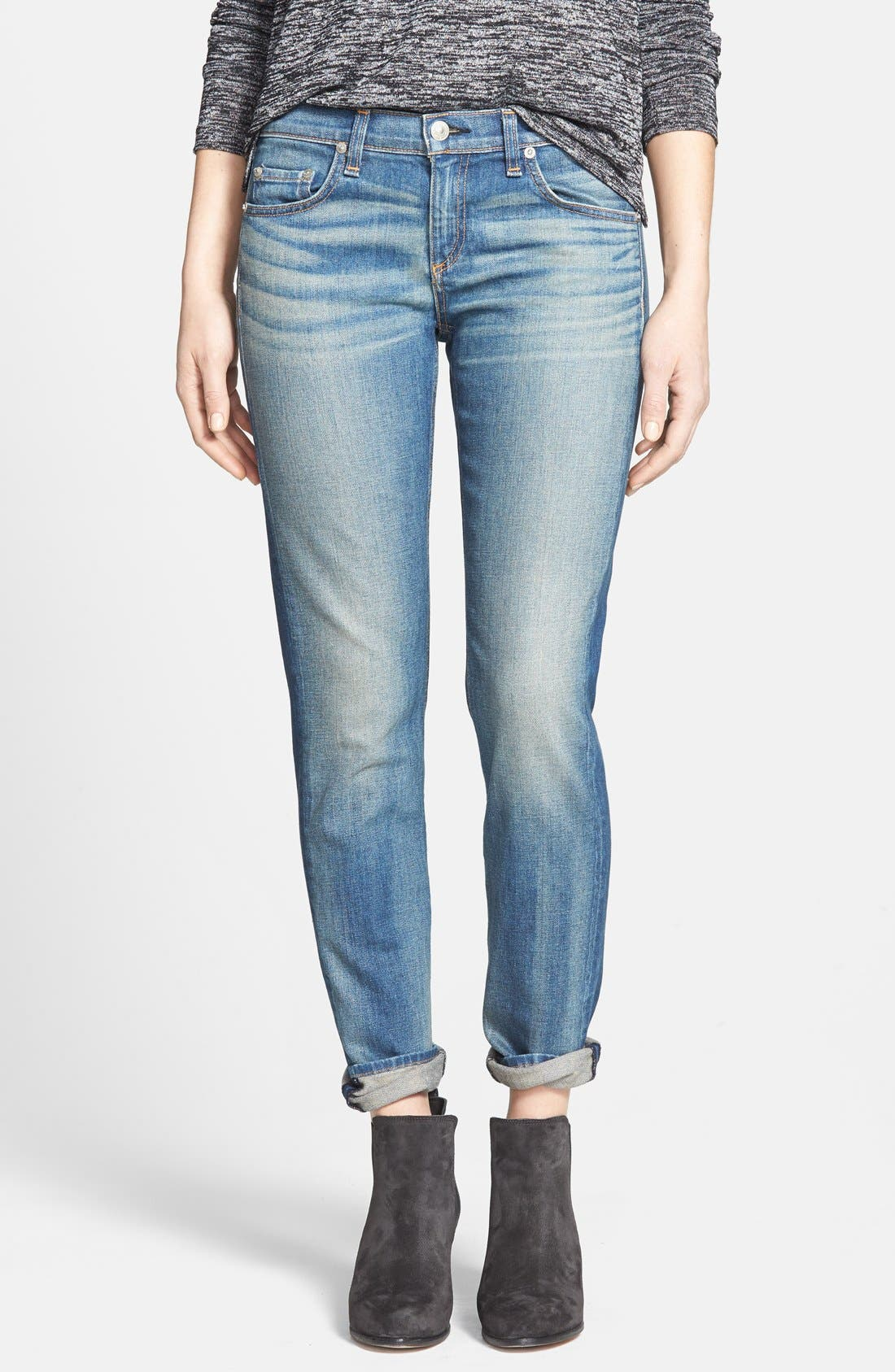 Alternate Image 1 Selected - rag & bone/JEAN 'The Dre' Slim Fit Boyfriend Jeans (Golden) (Nordstrom Exclusive)