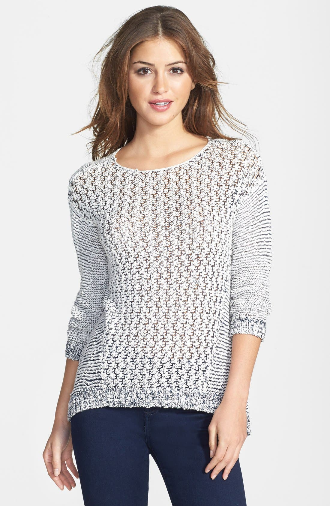 Alternate Image 1 Selected - Two by Vince Camuto Slub Cotton Blend Tape Yarn Sweater