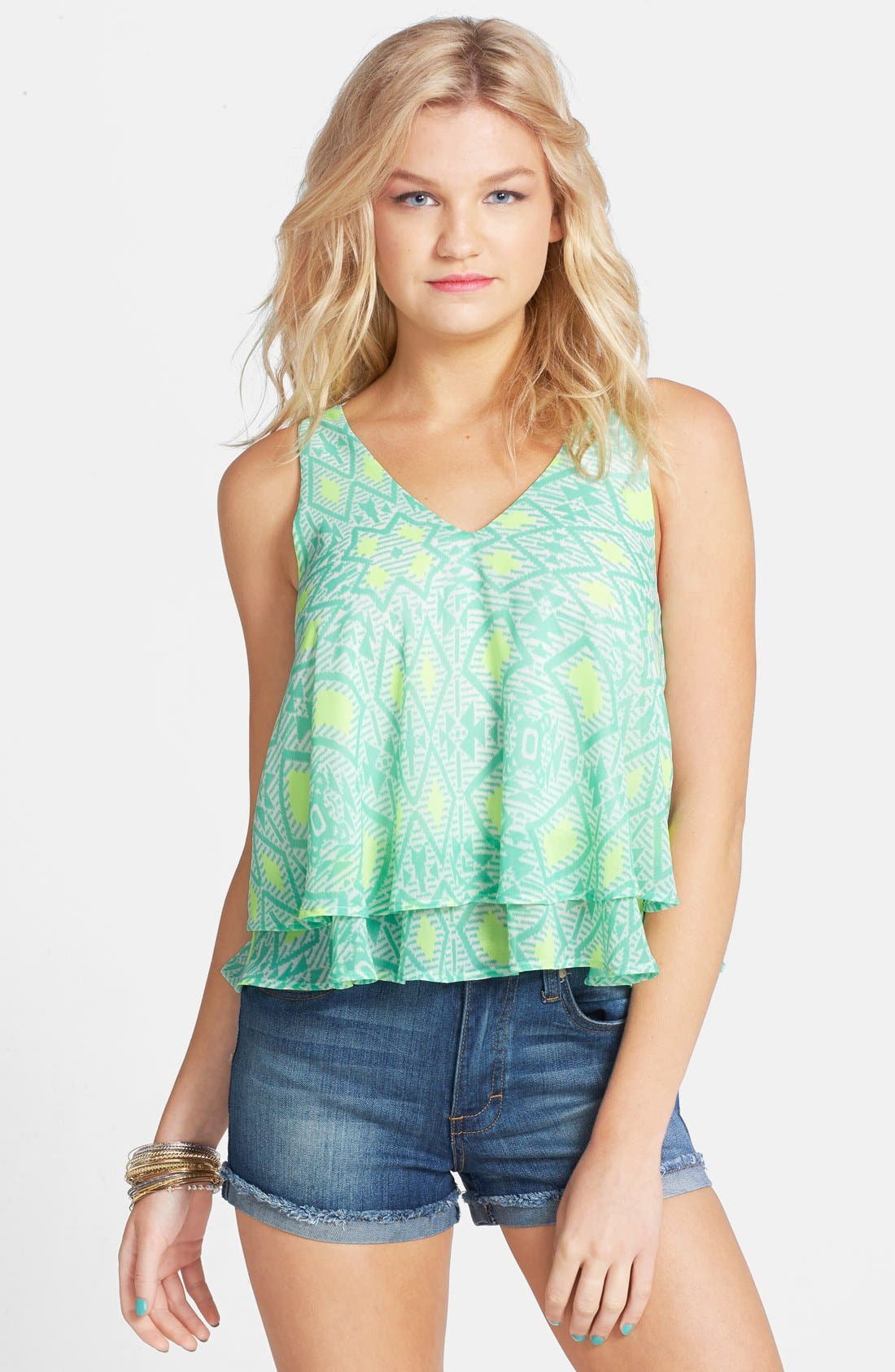 Alternate Image 1 Selected - Lush Cross Back Layered Tank (Juniors)