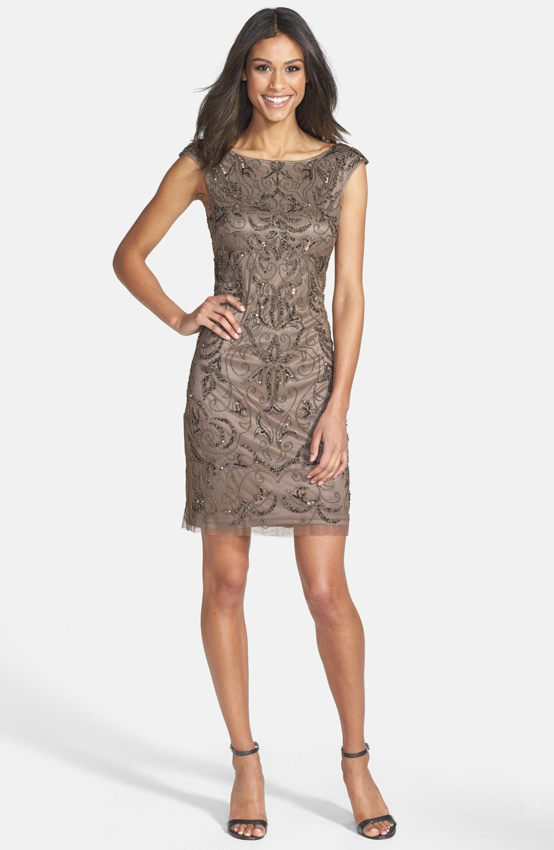 Alternate Image 3  - Adrianna Papell Beaded Mesh Dress (Regular & Petite)