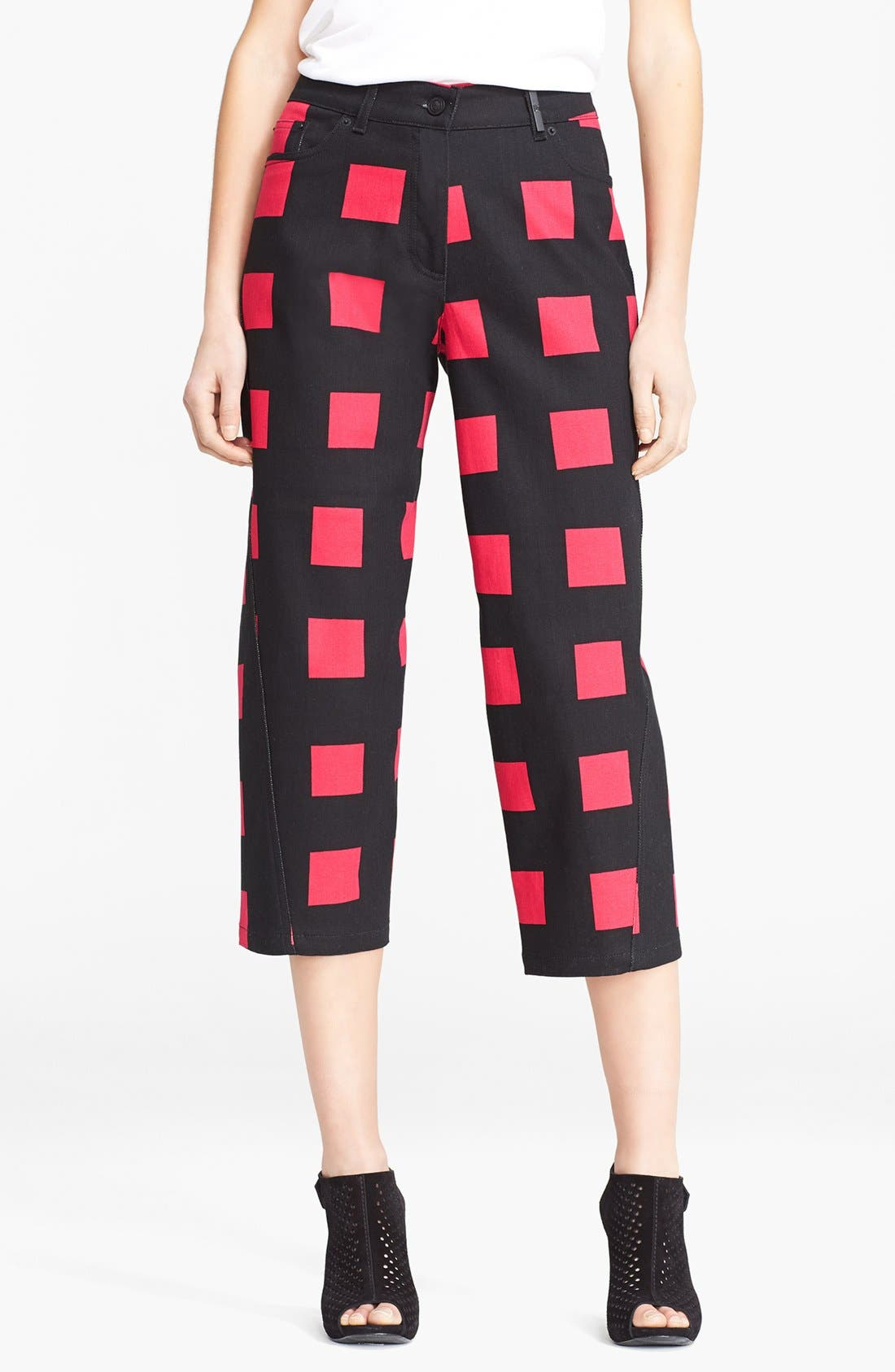 Alternate Image 1 Selected - KENZO Square Print Crop Jeans
