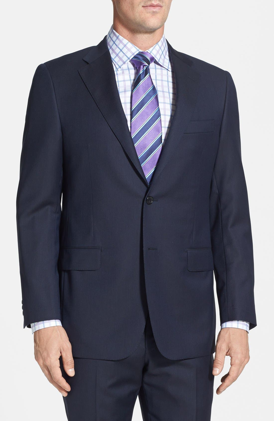 Alternate Image 3  - Hickey Freeman Classic Fit Navy Stripe Suit