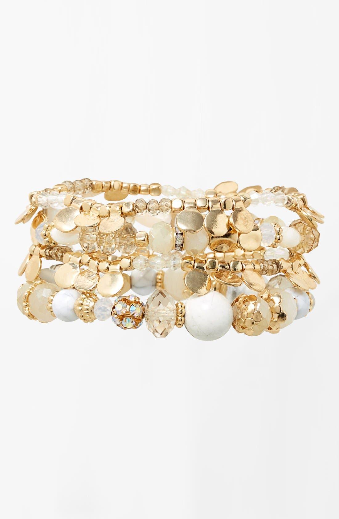 Main Image - Sara Bella Beaded Stretch Bracelets (Set of 4)