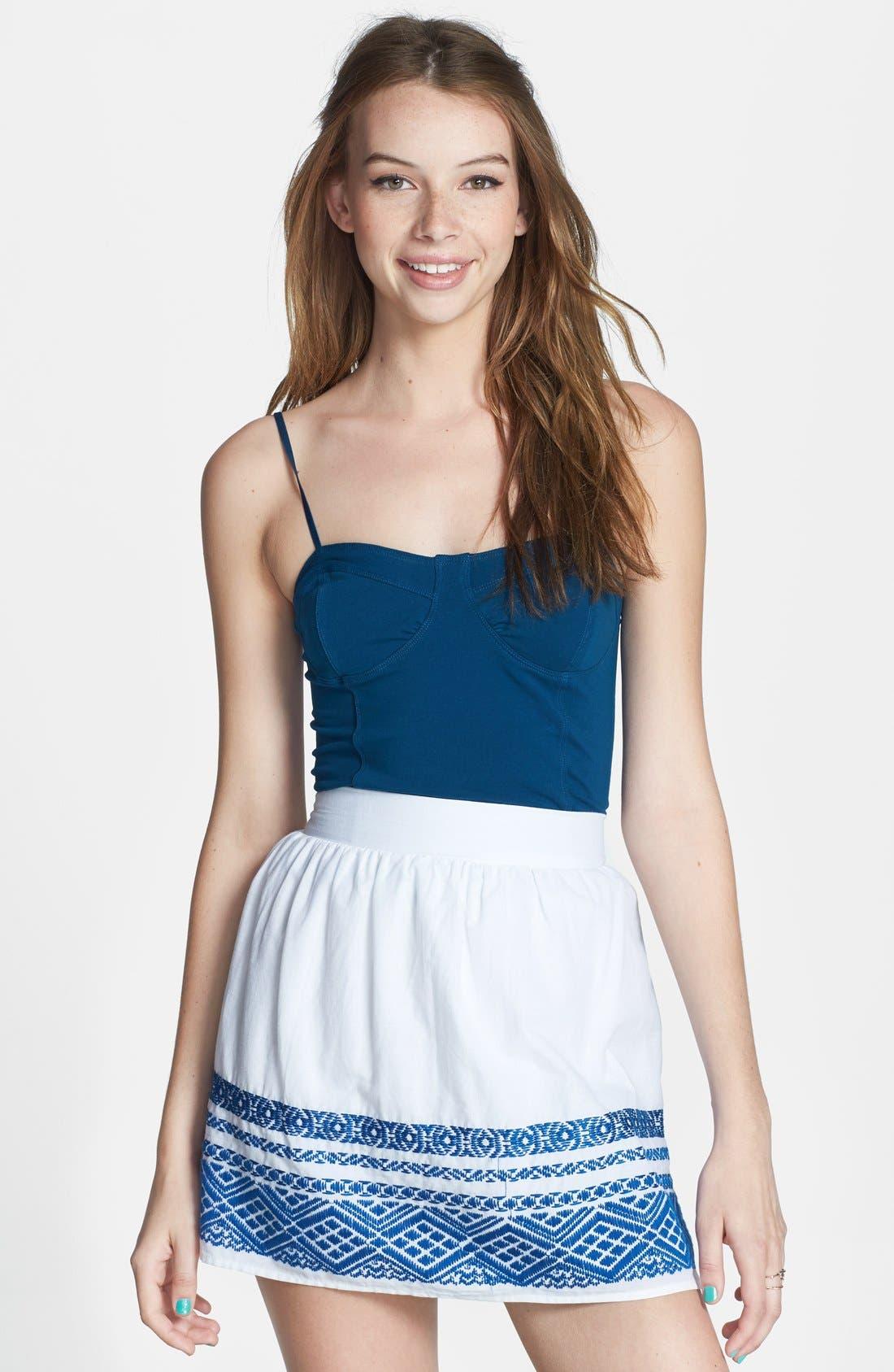 Main Image - Socialite Embroidered Hem Cotton Skirt (Juniors)