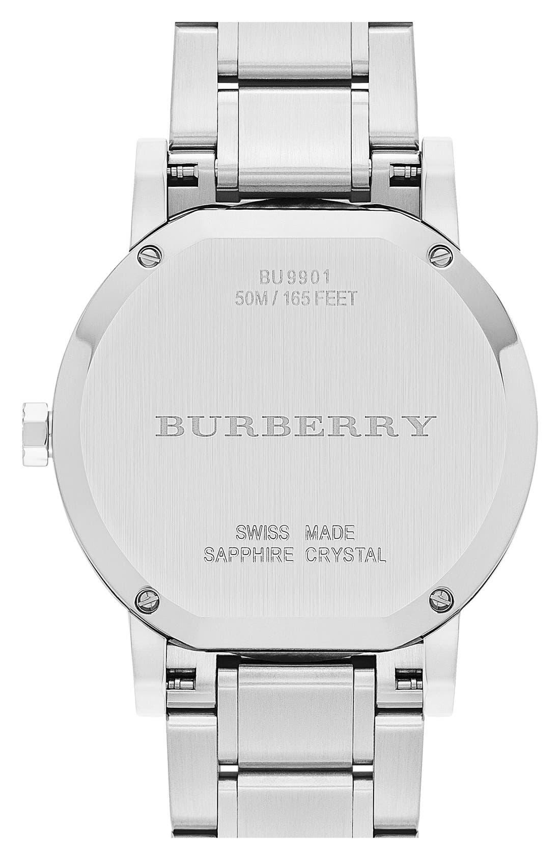 Alternate Image 3  - Burberry Check Stamped Bracelet Watch, 42mm