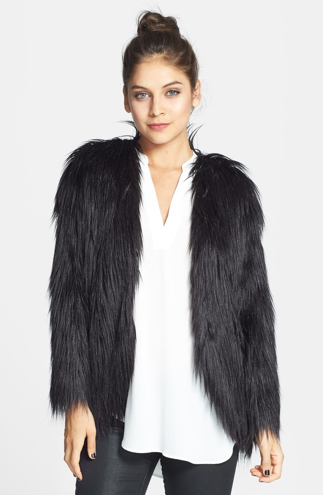 Alternate Image 1 Selected - Hot & Delicious Faux Fur Jacket (Juniors)