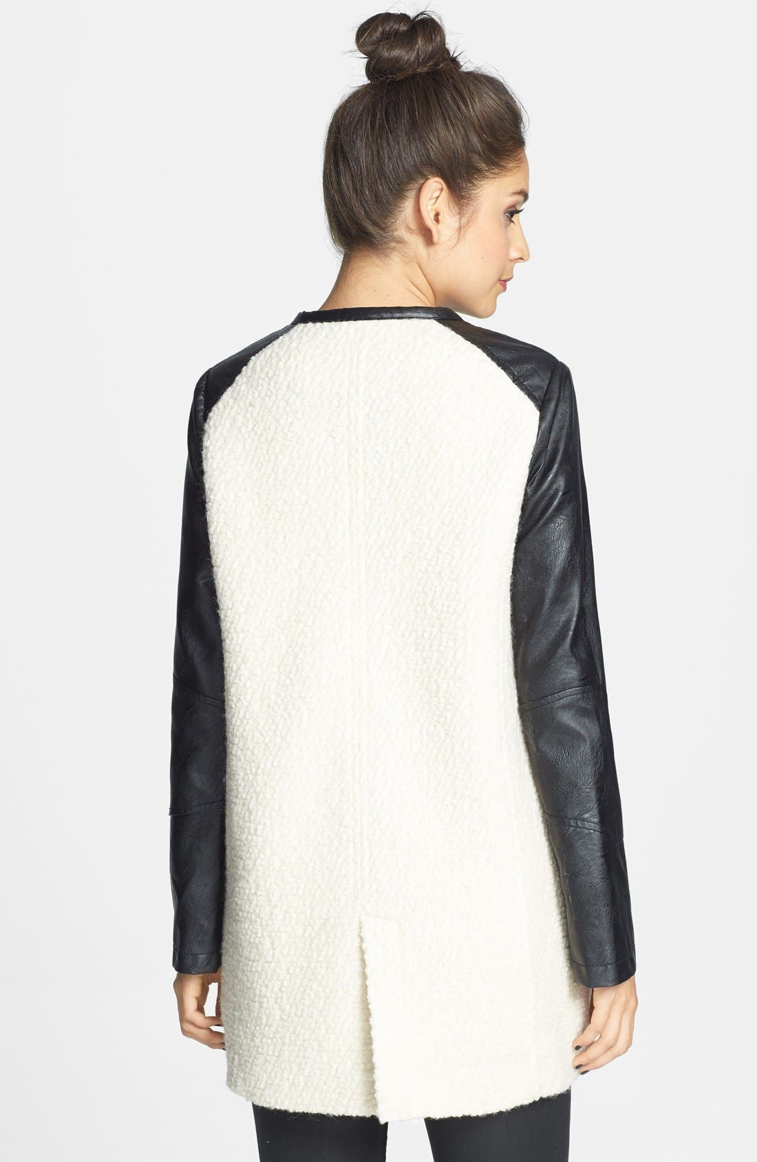 Alternate Image 2  - Jolt Colorblock Faux Leather Bouclé Knit Coat (Juniors)