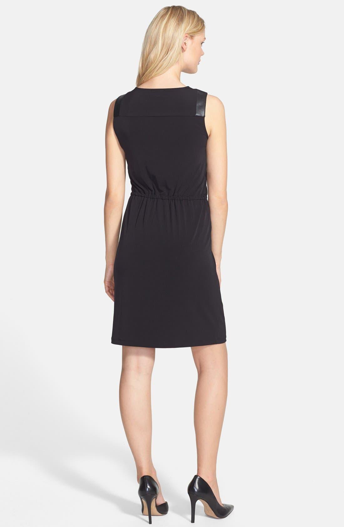 Alternate Image 2  - Calvin Klein Faux Leather Trim Drawstring Waist Dress