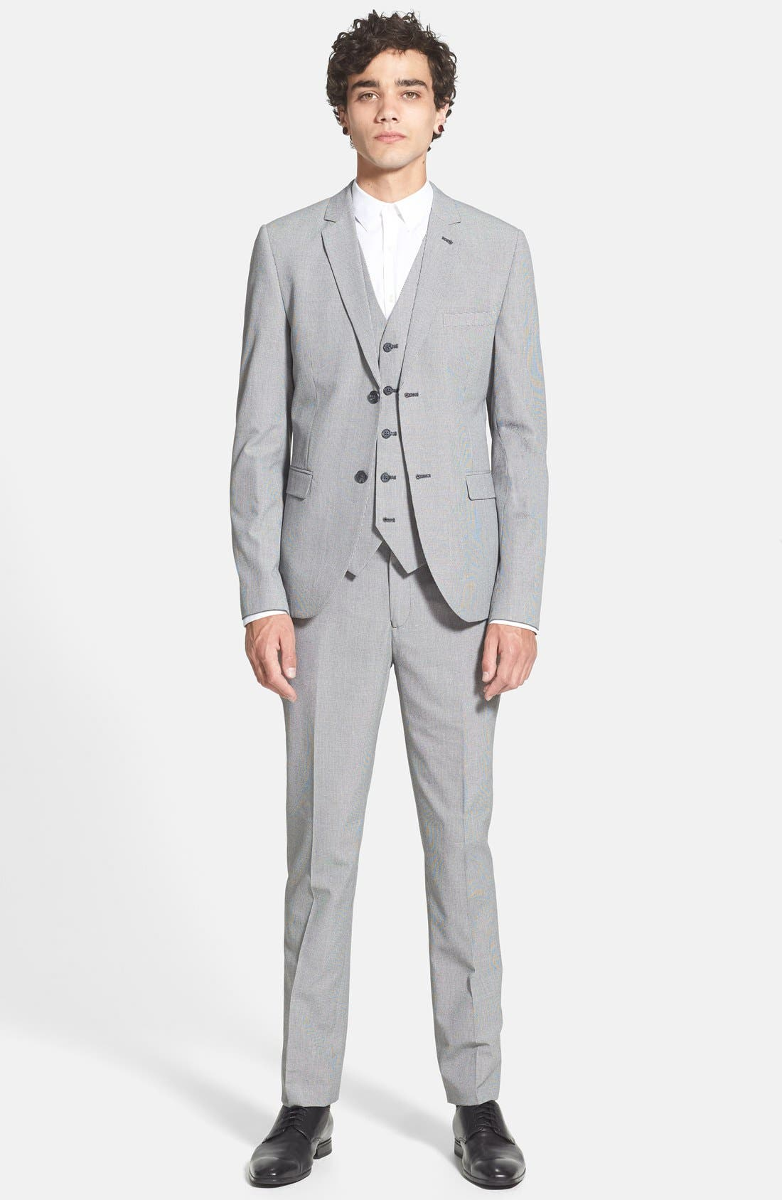 Alternate Image 4  - Topman Skinny Fit Micro Houndstooth Suit Trousers