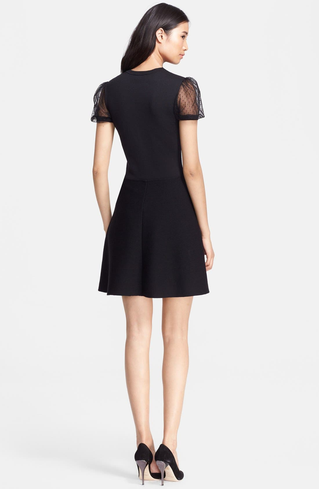 Alternate Image 2  - RED Valentino Tulle Sleeve Fit & Flare Dress