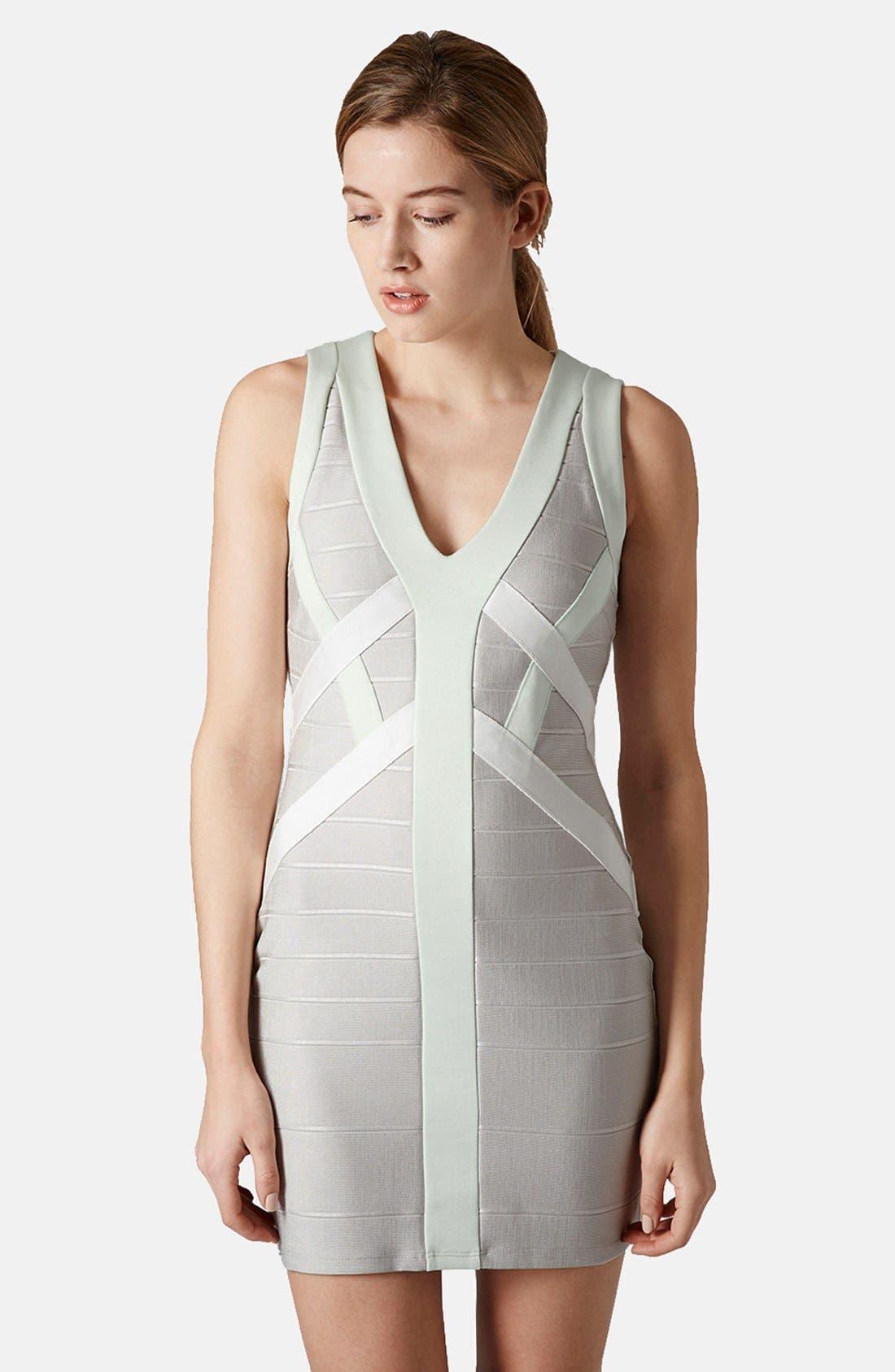 Main Image - Topshop Satin Bandage Body-Con Dress