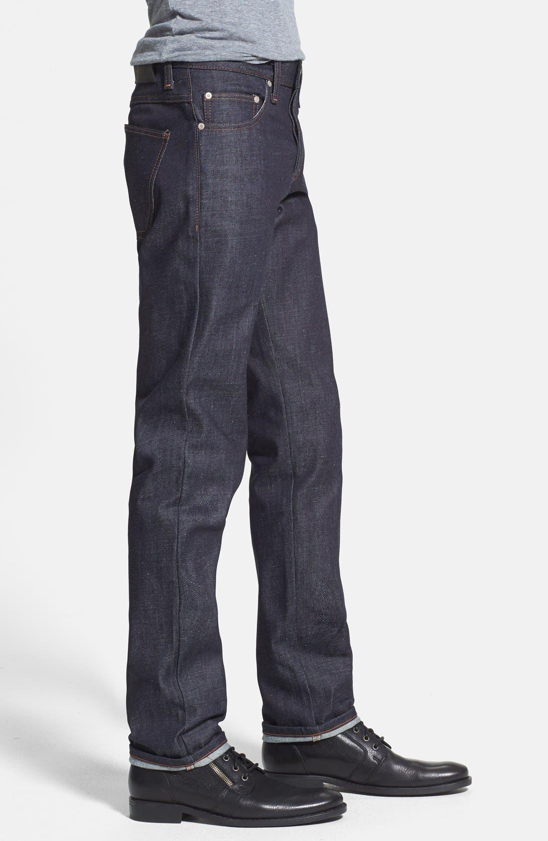 Alternate Image 3  - Naked & Famous Denim 'Slim Guy' Straight Leg Jeans (Indigo) (Online Only)