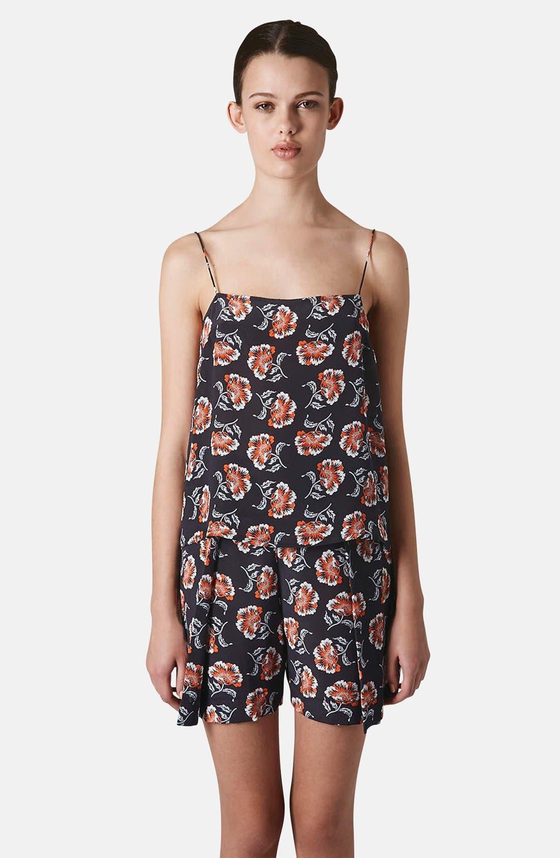 Main Image - Topshop Boutique Floral Print Silk Camisole