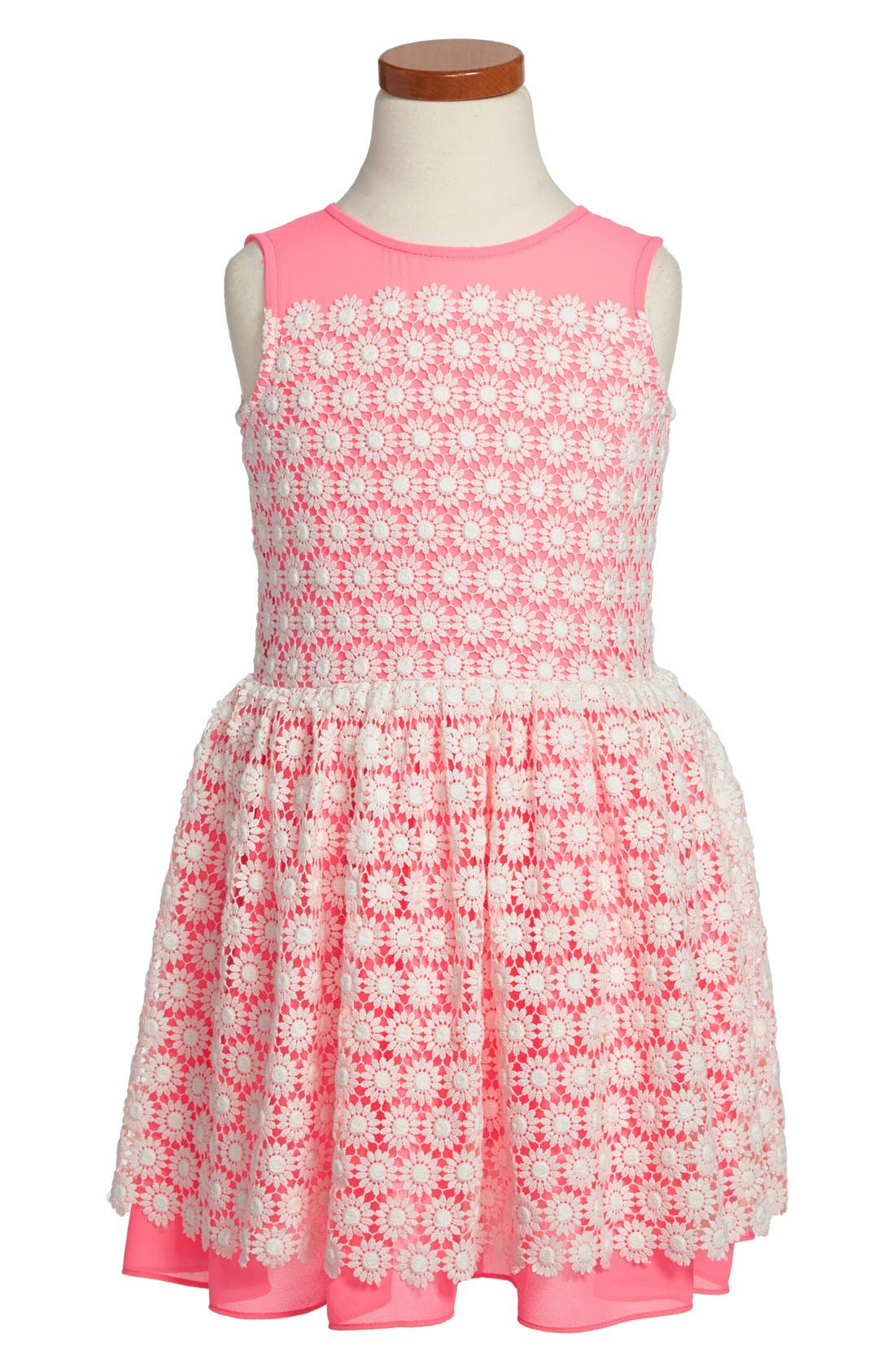 Alternate Image 1 Selected - Halabaloo Crochet Lace Party Dress (Toddler Girls & Little Girls)