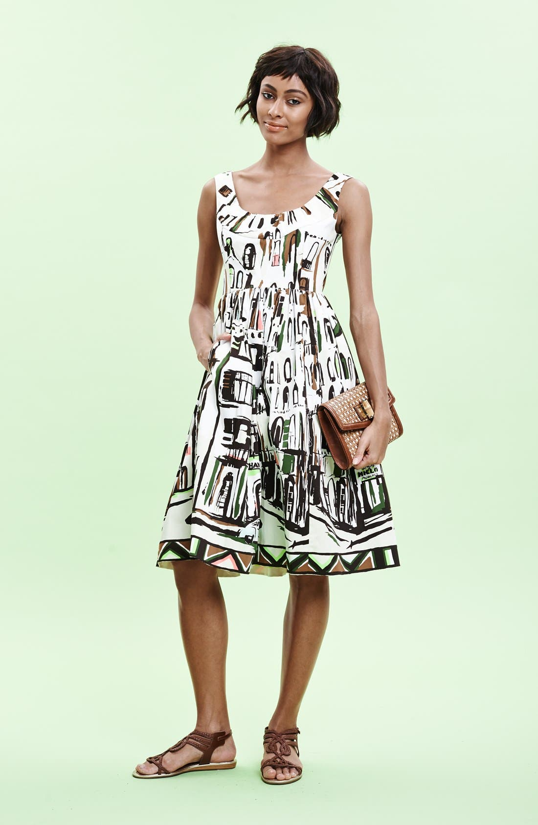 Alternate Image 5  - kate spade new york 'landscape' print stretch cotton fit & flare dress