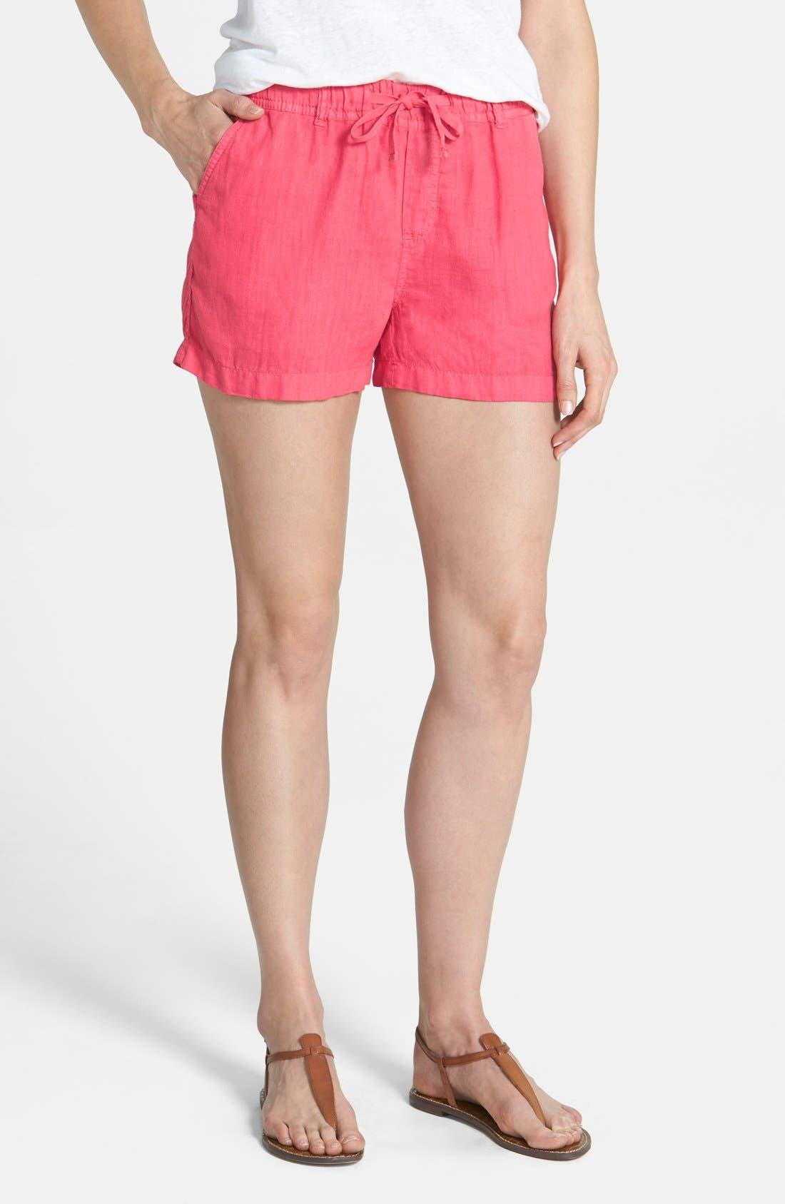 Alternate Image 1 Selected - Caslon® Drawstring Linen Shorts (Regular & Petite)