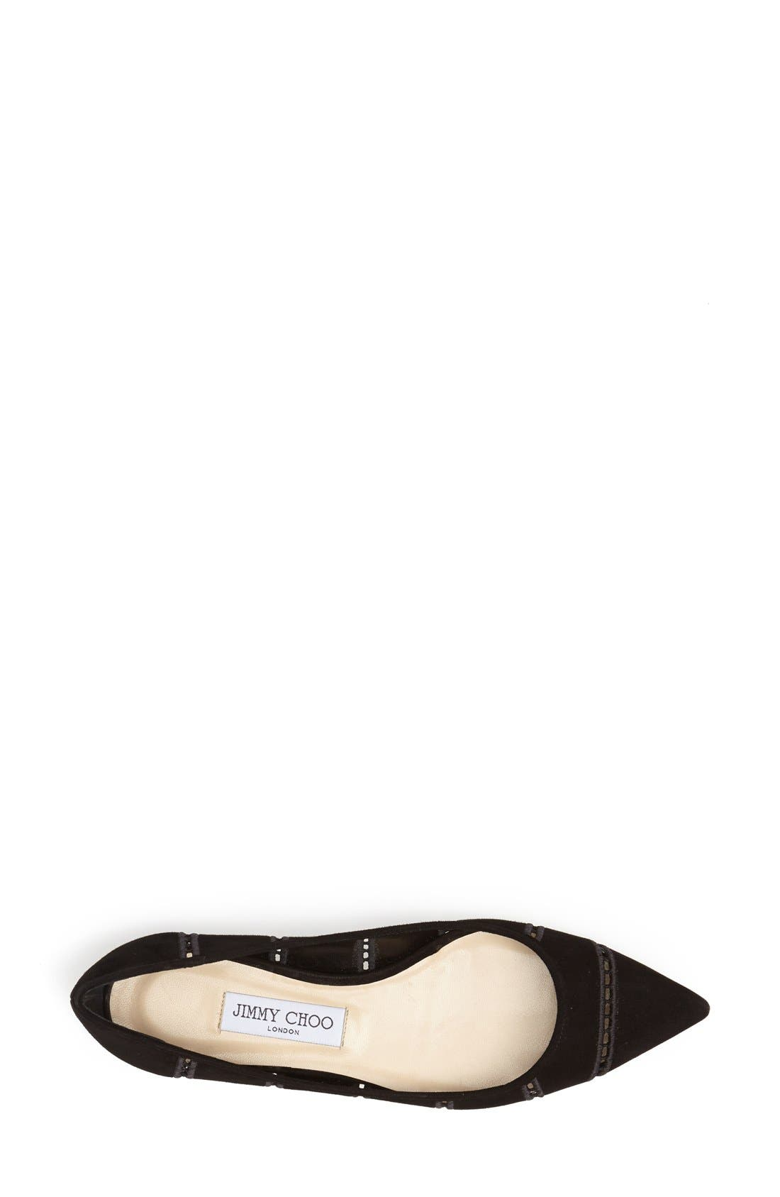 Alternate Image 3  - Jimmy Choo 'Alina' Pointy Toe Perforated Broderie Anglaise Suede Flat (Women)