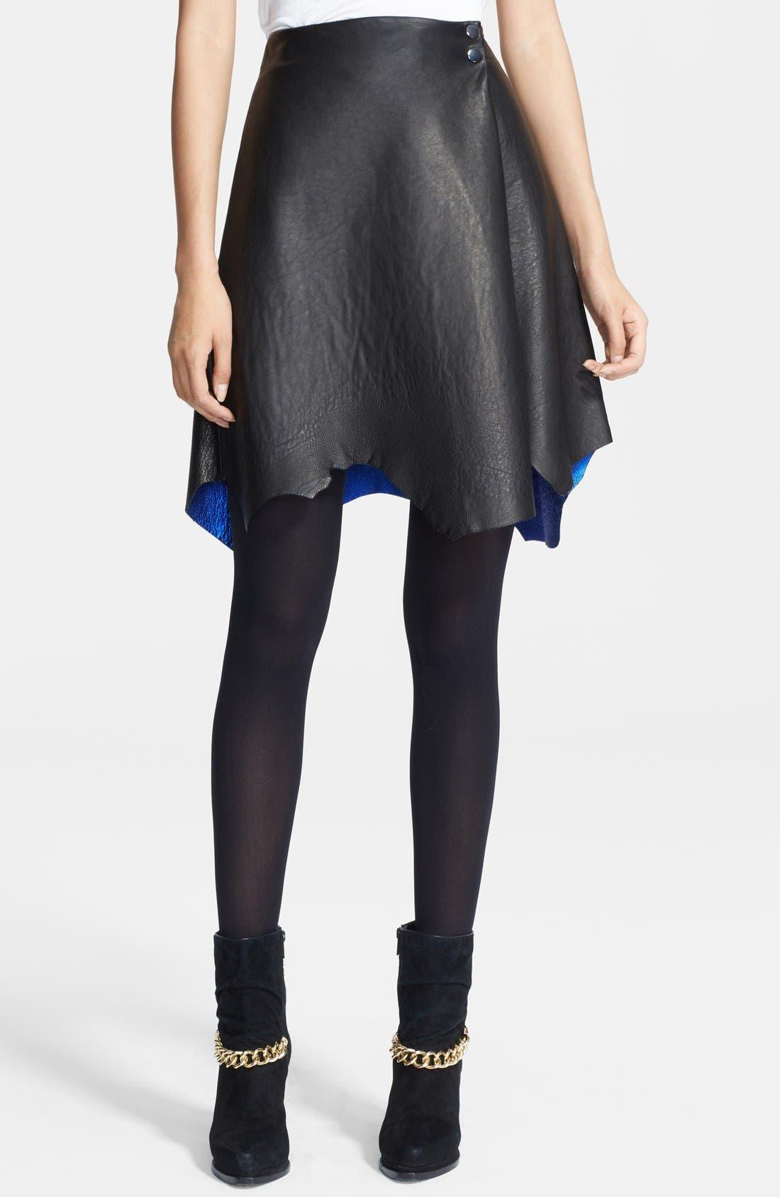 Alternate Image 1 Selected - 3.1 Phillip Lim Raw Hem Leather Skirt