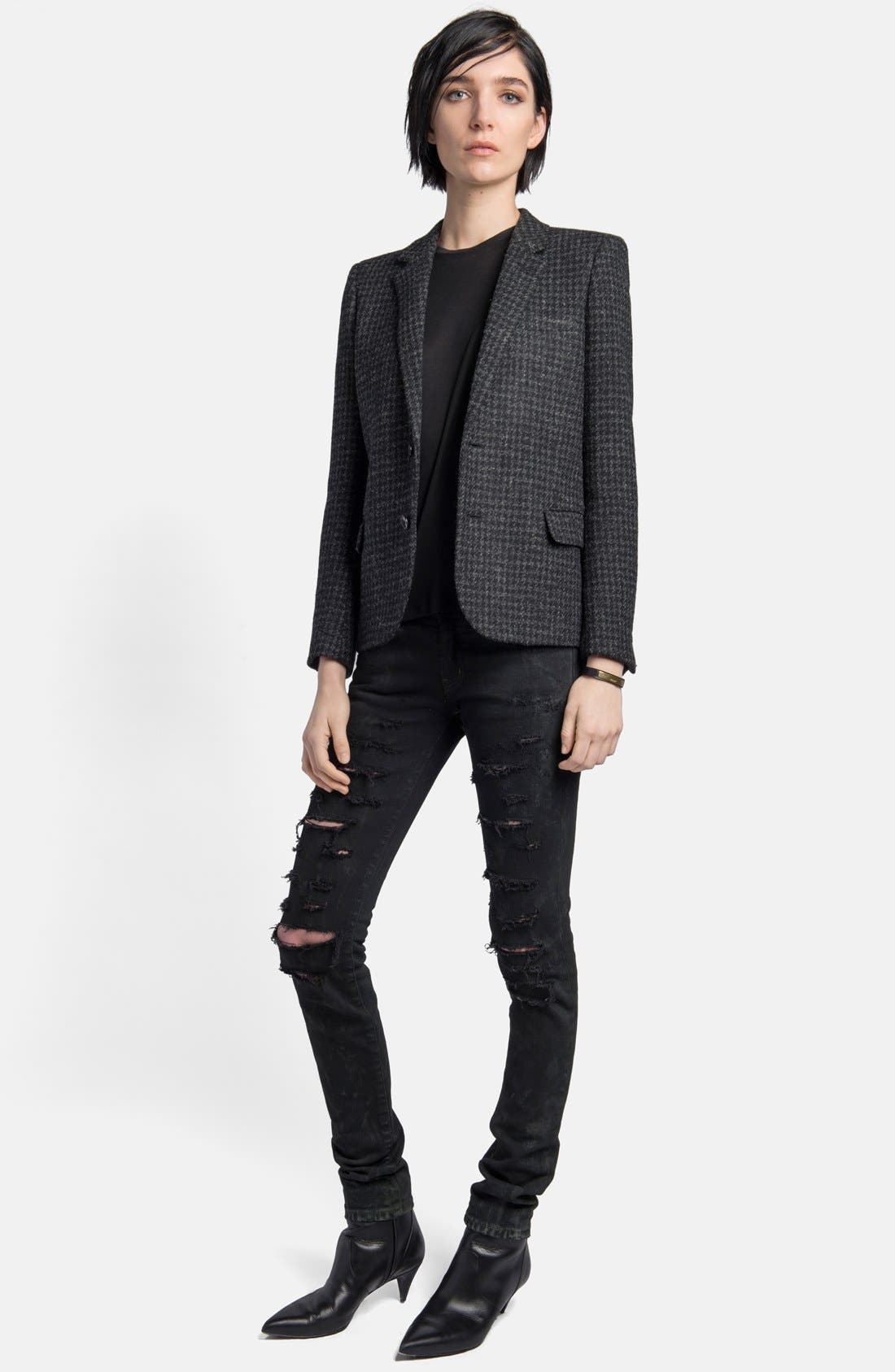 Alternate Image 3  - Saint Laurent Leather Elbow Patch Houndstooth Tweed Blazer