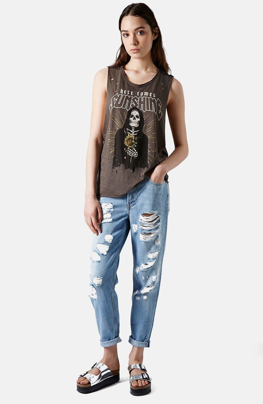 Alternate Image 5  - Topshop Moto Destroyed Boyfriend Jeans (Light Denim)