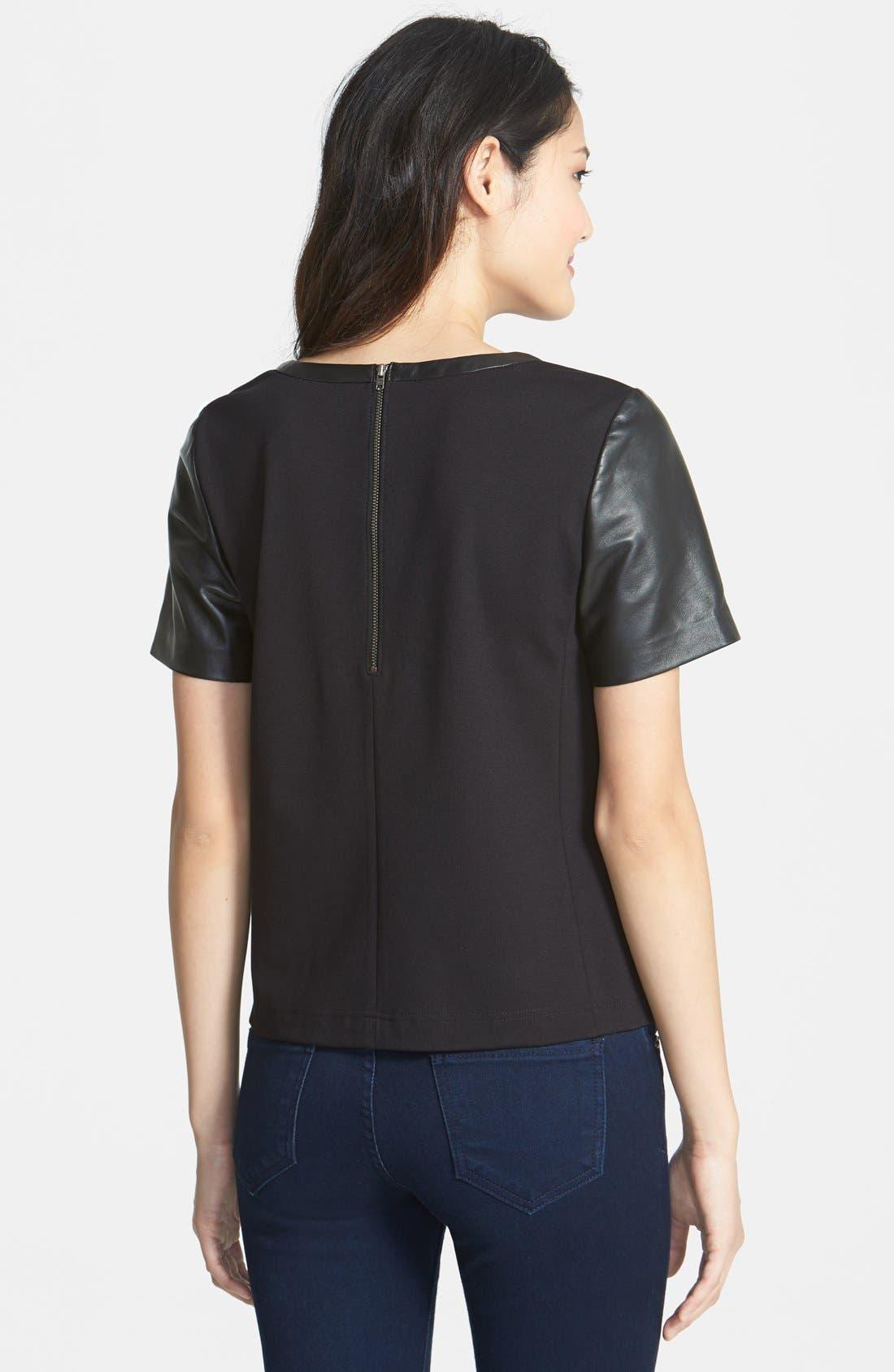 Alternate Image 2  - Halogen® Leather Front Top (Regular & Petite) (Online Only)