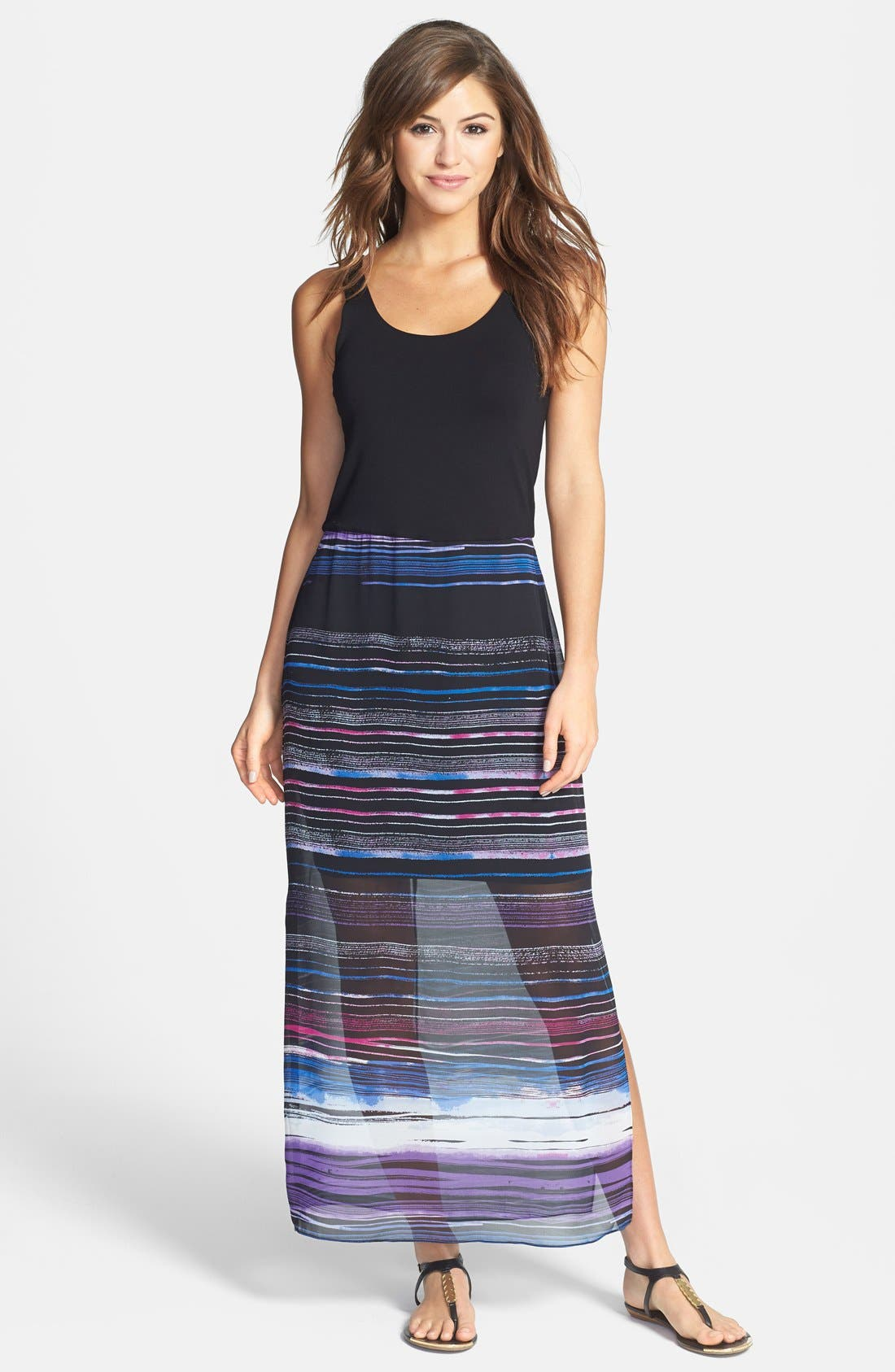Main Image - Vince Camuto 'Sweep Stripe' Chiffon Overlay Maxi Dress (Regular & Petite)