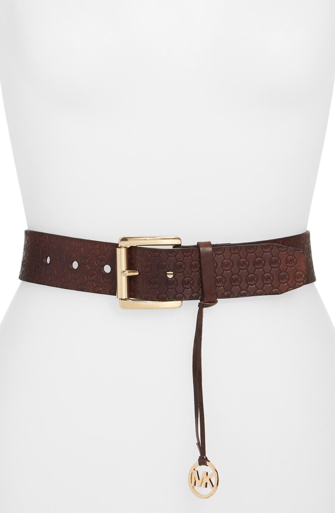 Alternate Image 1 Selected - MICHAEL Michael Kors Logo Embossed Leather Belt