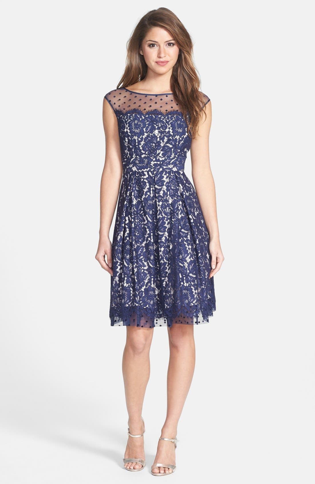 Alternate Image 3  - Eliza J Illusion Yoke Lace Fit & Flare Dress