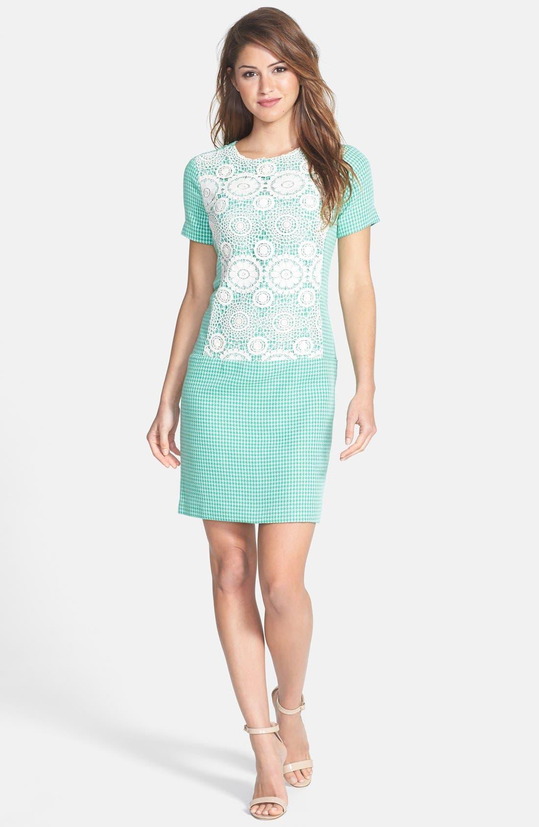 Alternate Image 3  - Ivy & Blu Crochet Panel Tweed Shift Dress