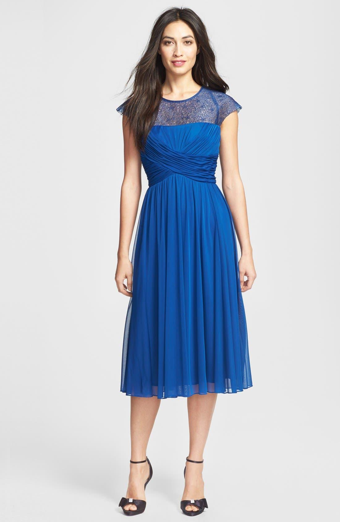 Alternate Image 1 Selected - Alex Evenings Ruched Cap Sleeve Tea Length Dress