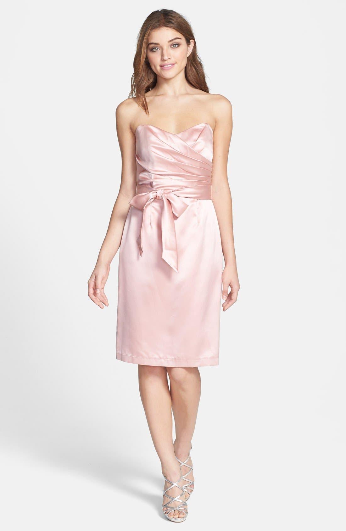 Alternate Image 3  - Dessy Collection Cross Draped Strapless Satin Sheath Dress
