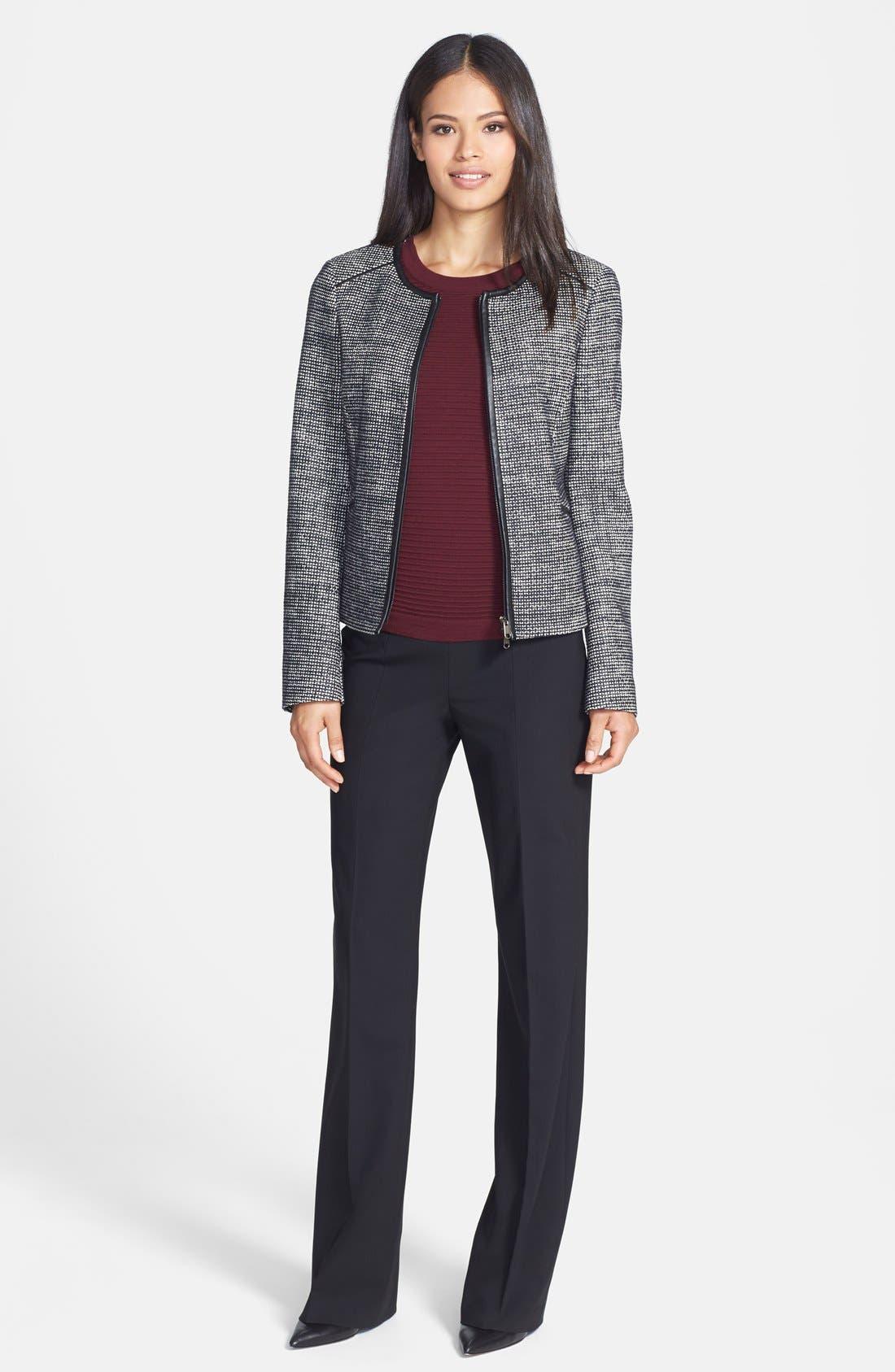 Alternate Image 4  - BOSS 'Koralia' Leather Trim Collarless Tweed Jacket