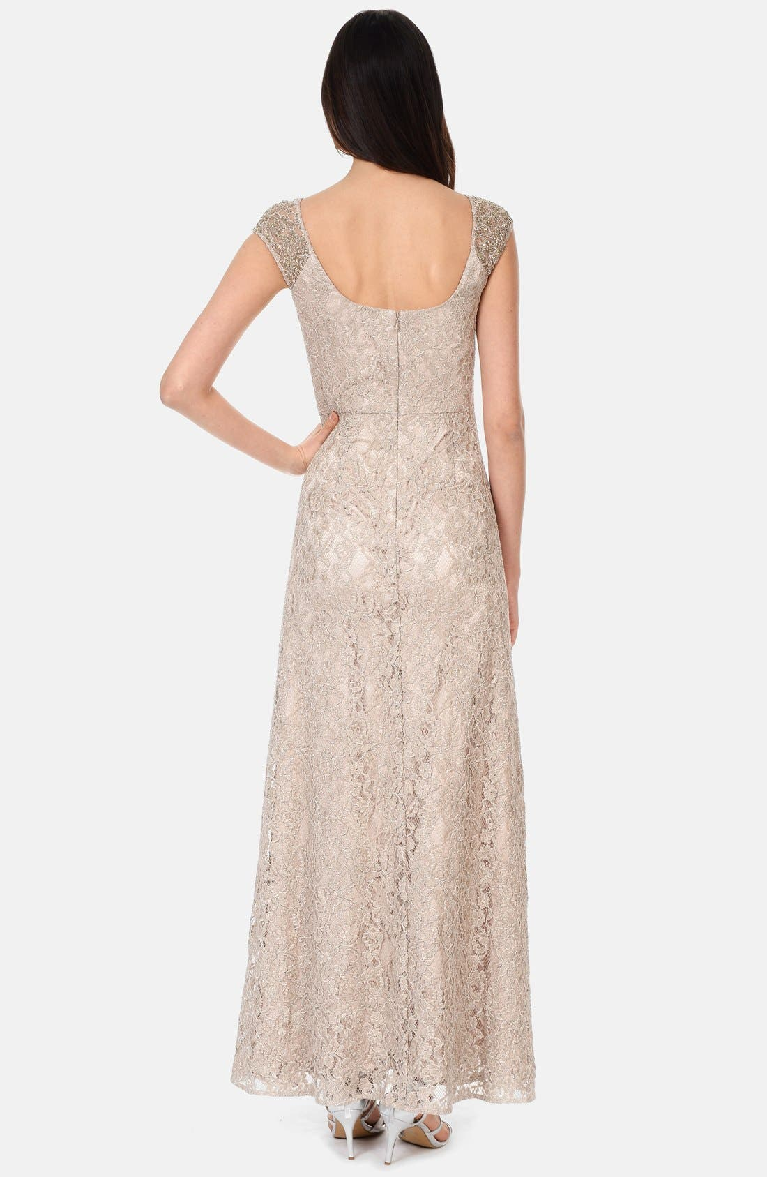 Alternate Image 2  - Kay Unger Embellished Cap Sleeve Lace Gown