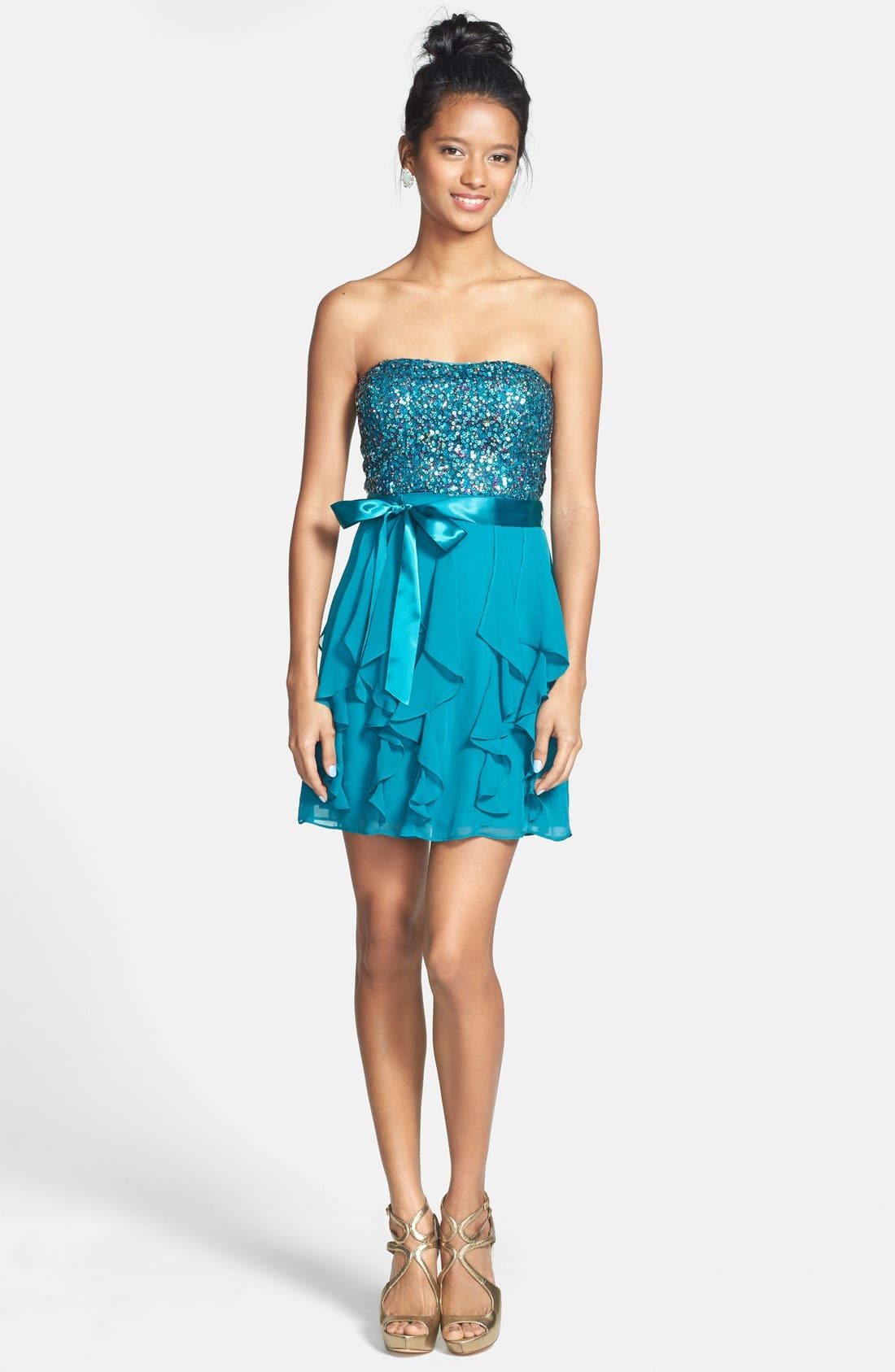 Alternate Image 3  - Hailey Logan Sequin Bodice Ruffle Dress (Juniors) (Online Only)