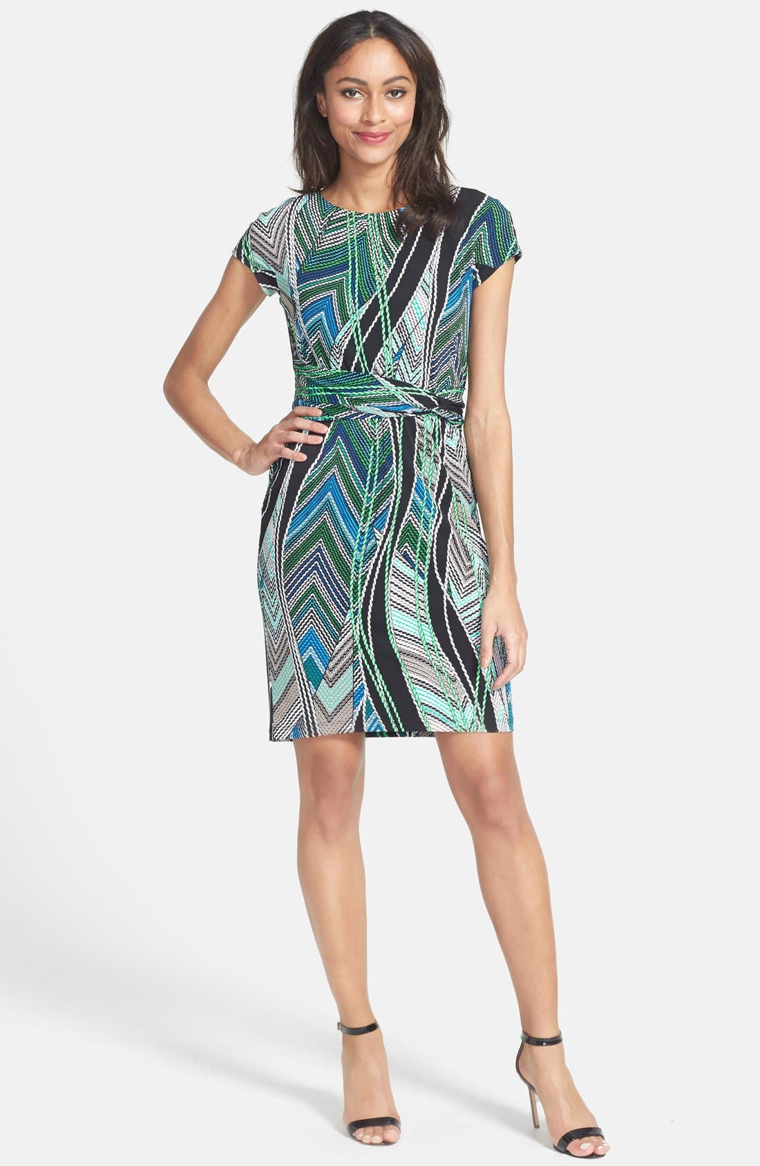 Alternate Image 3  - Ellen Tracy Short Sleeve Print Jersey Dress (Regular & Petite) (Online Only)