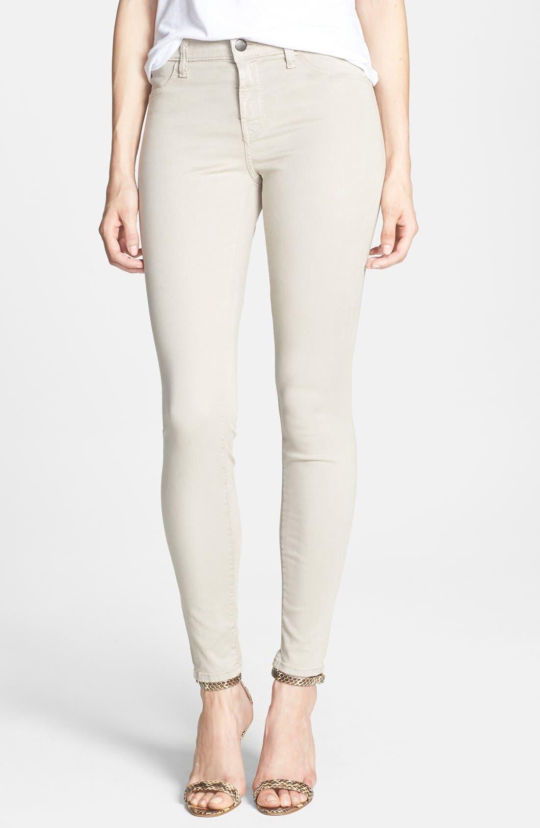 Alternate Image 1 Selected - J Brand '485' Mid Rise Super Skinny Jeans (Stone)