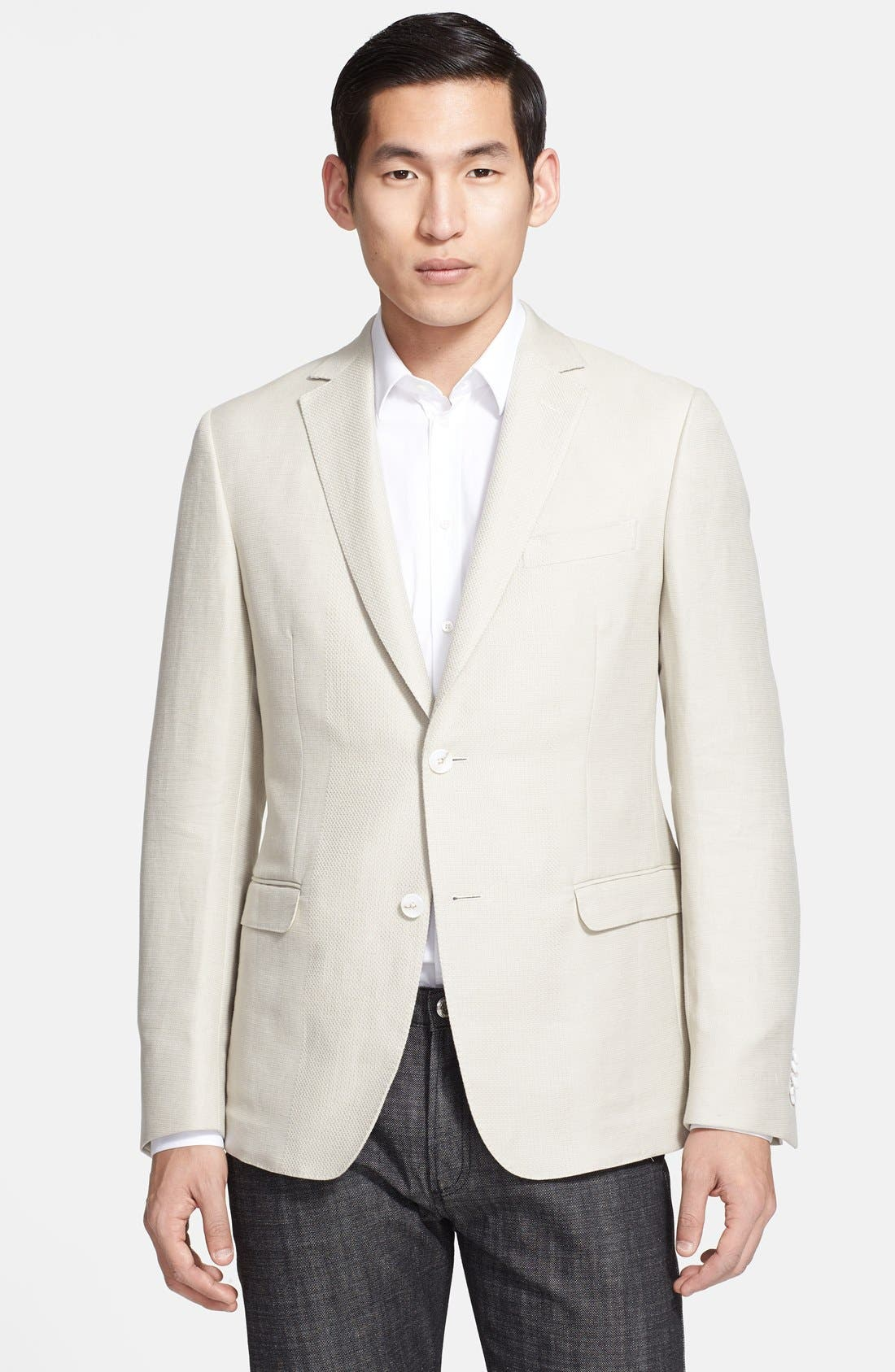 Alternate Image 1 Selected - Z Zegna Extra Trim Fit Linen & Cotton Sportcoat