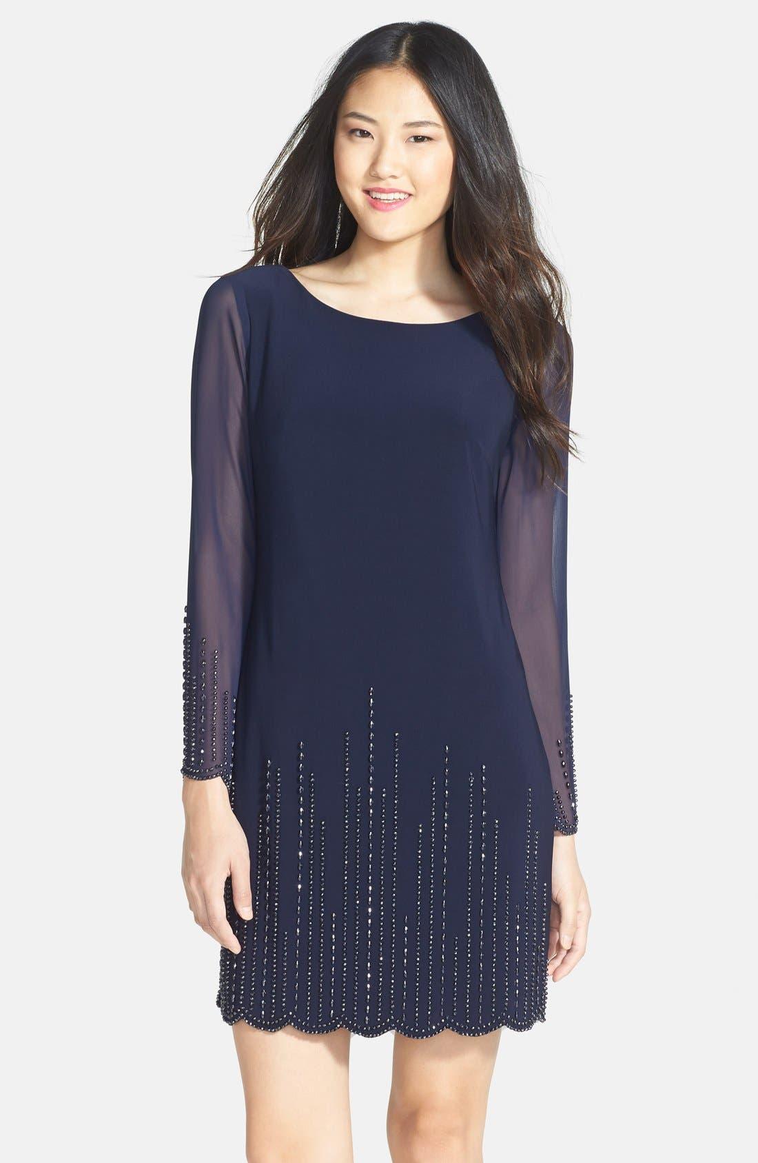 Main Image - Xscape Beaded Jersey & Chiffon Shift Dress