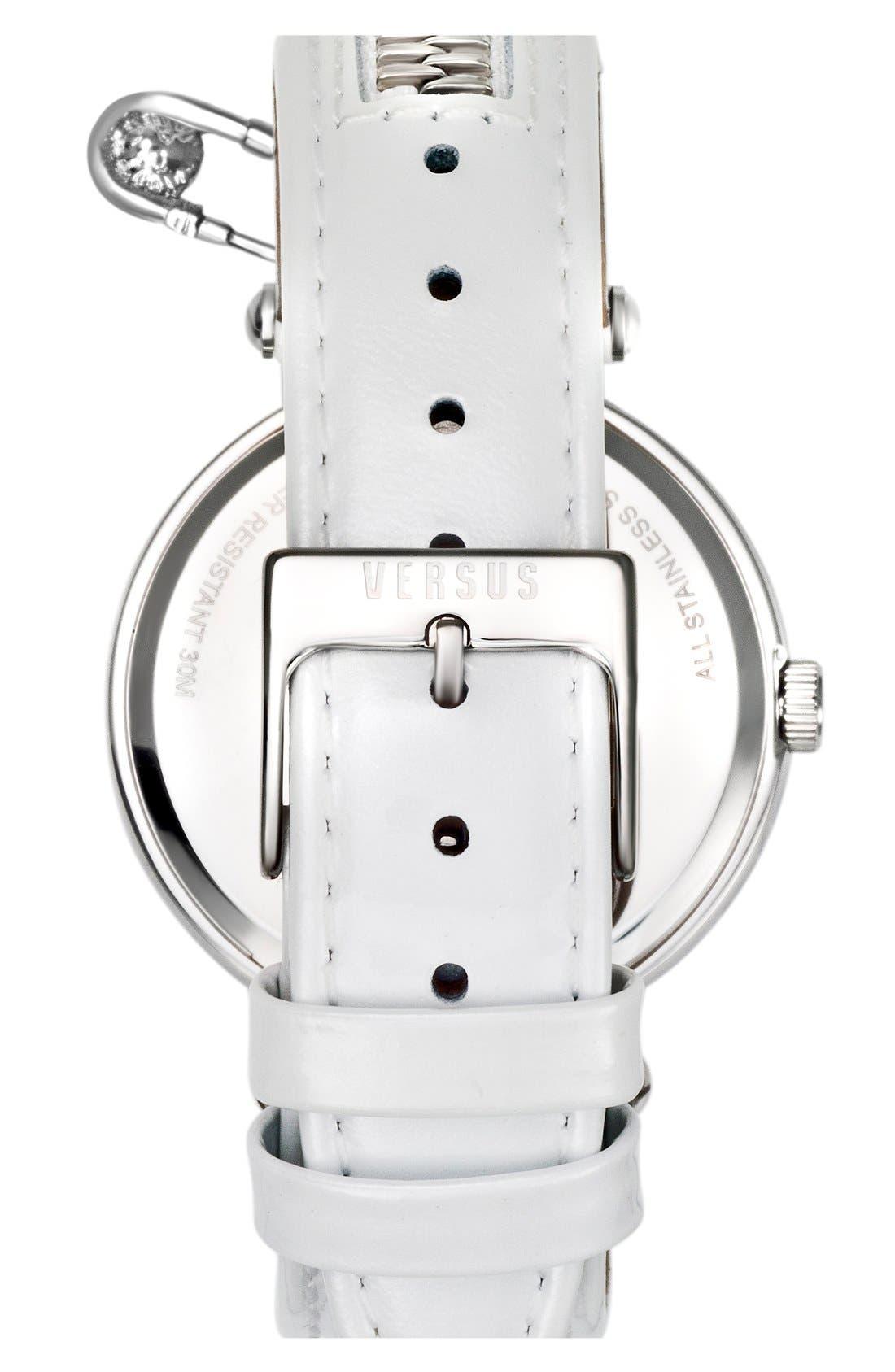 Alternate Image 2  - VERSUS by Versace 'Key Biscane' Zip Detail Leather Strap Watch, 38mm