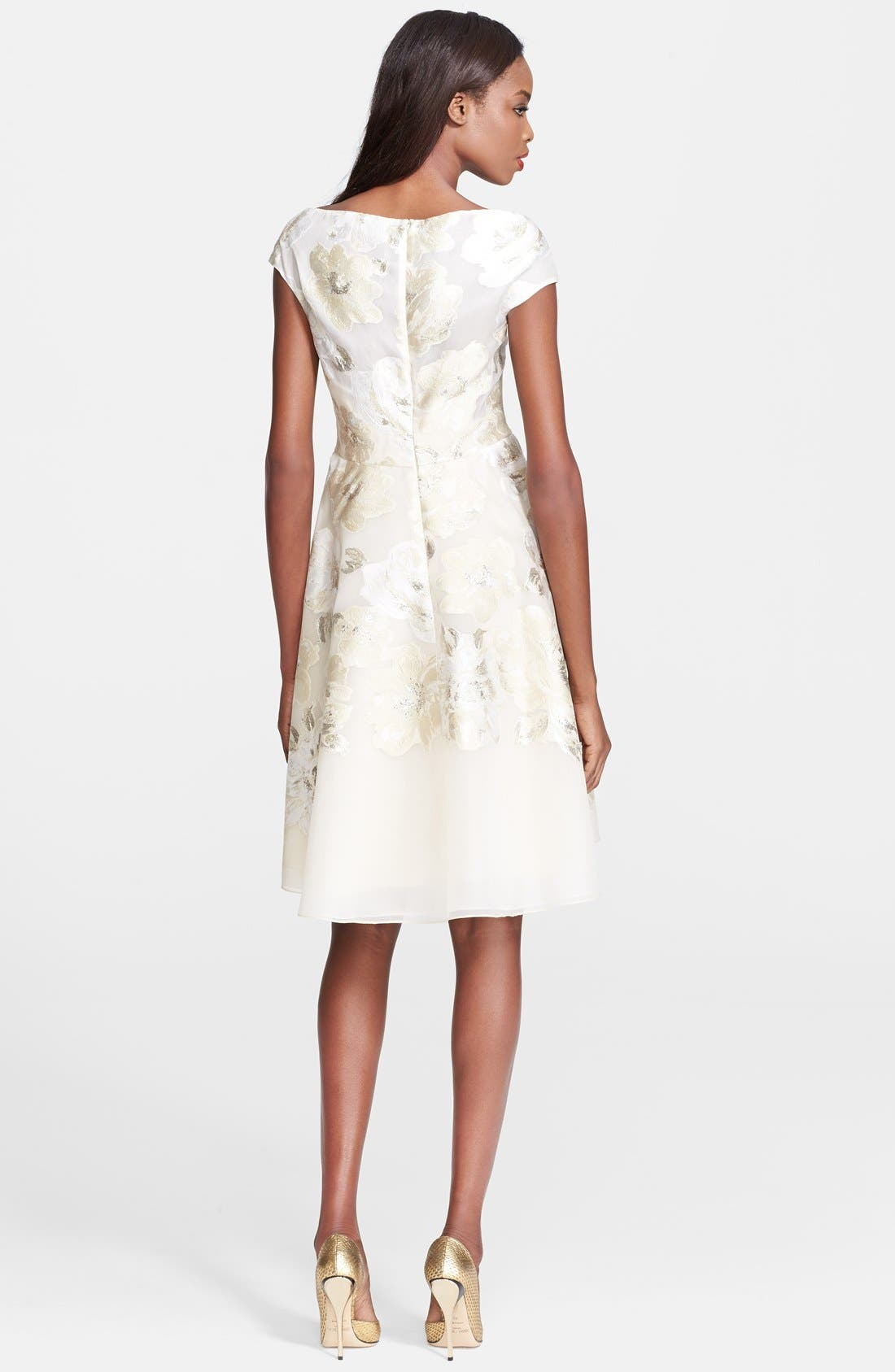 Alternate Image 2  - Lela Rose Gold Leaf Fil Coupe Floral Dress
