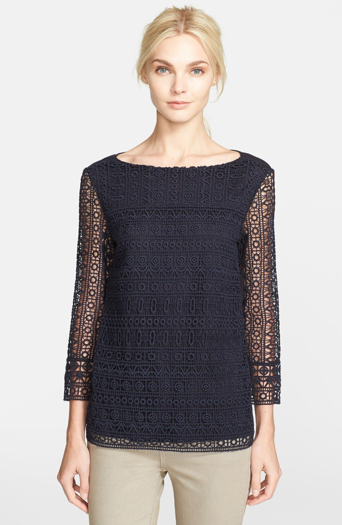 Alternate Image 1 Selected - Tory Burch 'Harlow' Guipure Lace Tee