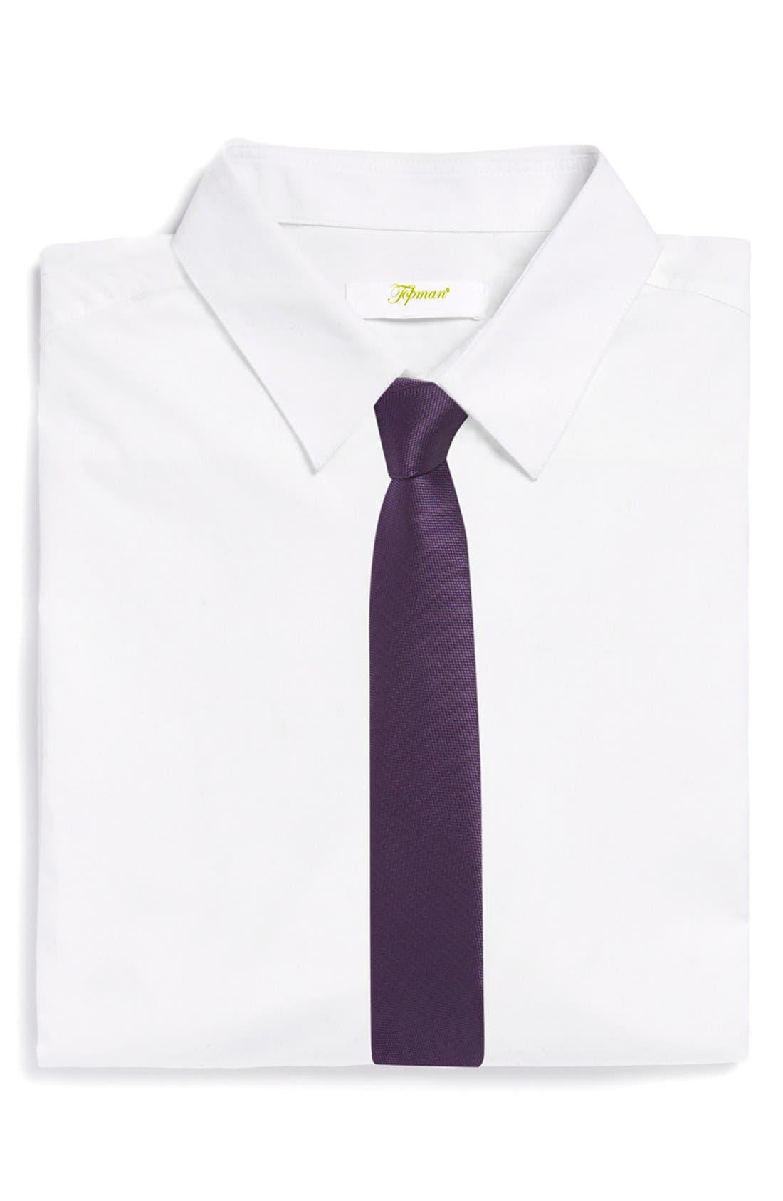 Main Image - Topman Slim Burgundy Tie