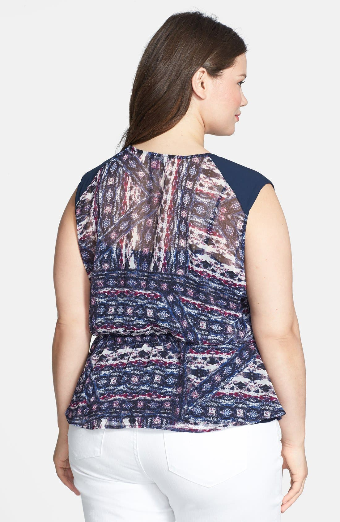 Alternate Image 2  - Vince Camuto 'Tribal' Print Tie Front Blouse (Plus Size)