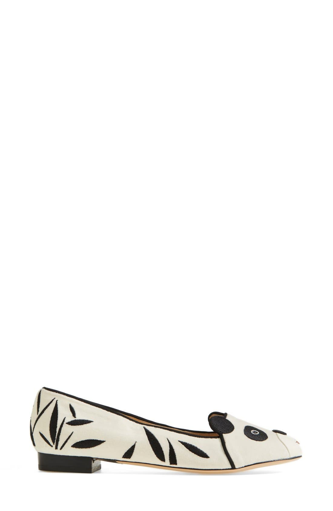 Alternate Image 4  - Charlotte Olympia 'Panda' Silk Velvet & Calfskin Leather Flat (Women)