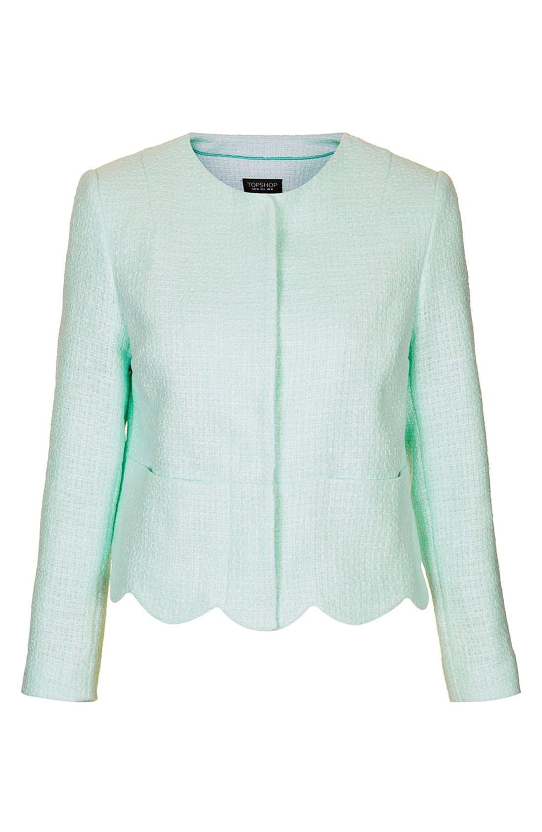 Alternate Image 3  - Topshop 'Betty' Scalloped Coated Bouclé Jacket