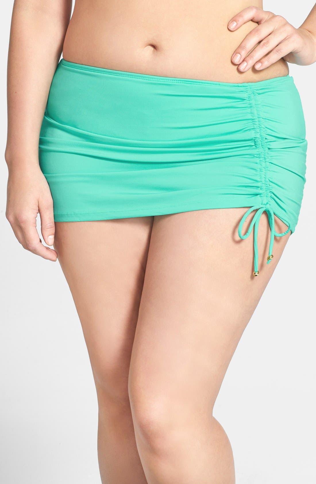 Alternate Image 1 Selected - Cole of California Shirred Skirted Bikini Bottoms (Plus Size)